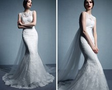 free shipping 2014 new design hot sale sexy vestido de noiva curto romantic casamento white long mermaid lace wedding dress