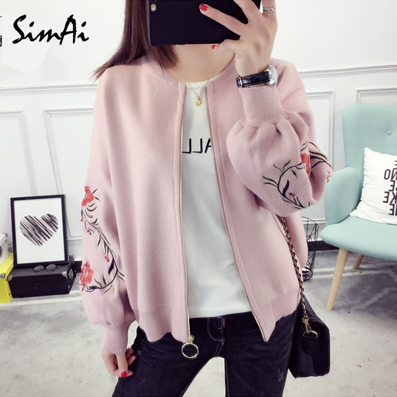 SimAi 2018 New Autumn   Jackets   Autumn Retro Floral Zipper Up   Basic     Jacket   For Women Casual Coat Winter Outwear Women Clothes