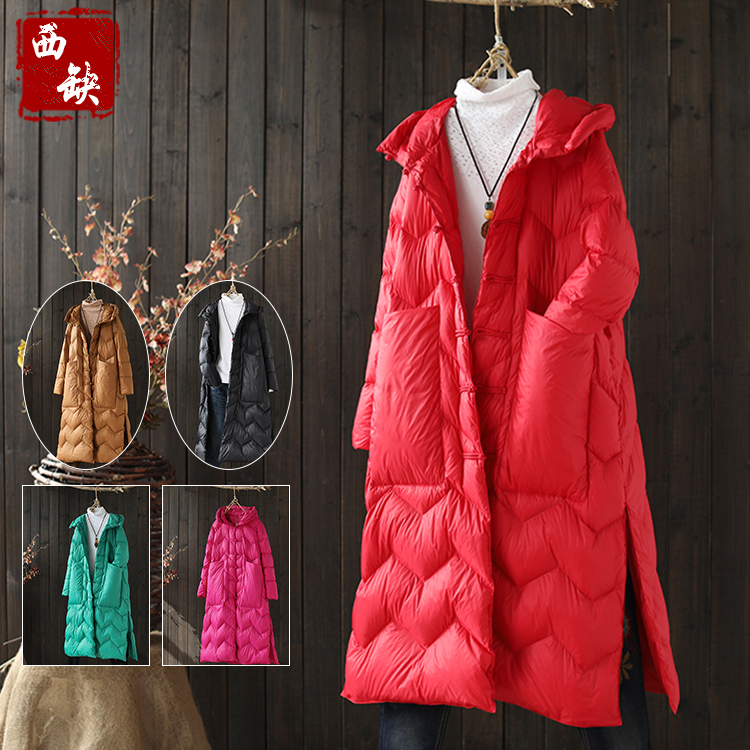 2018 new cotton and linen autumn and winter thick vintage hooded popular pocket style wo ...