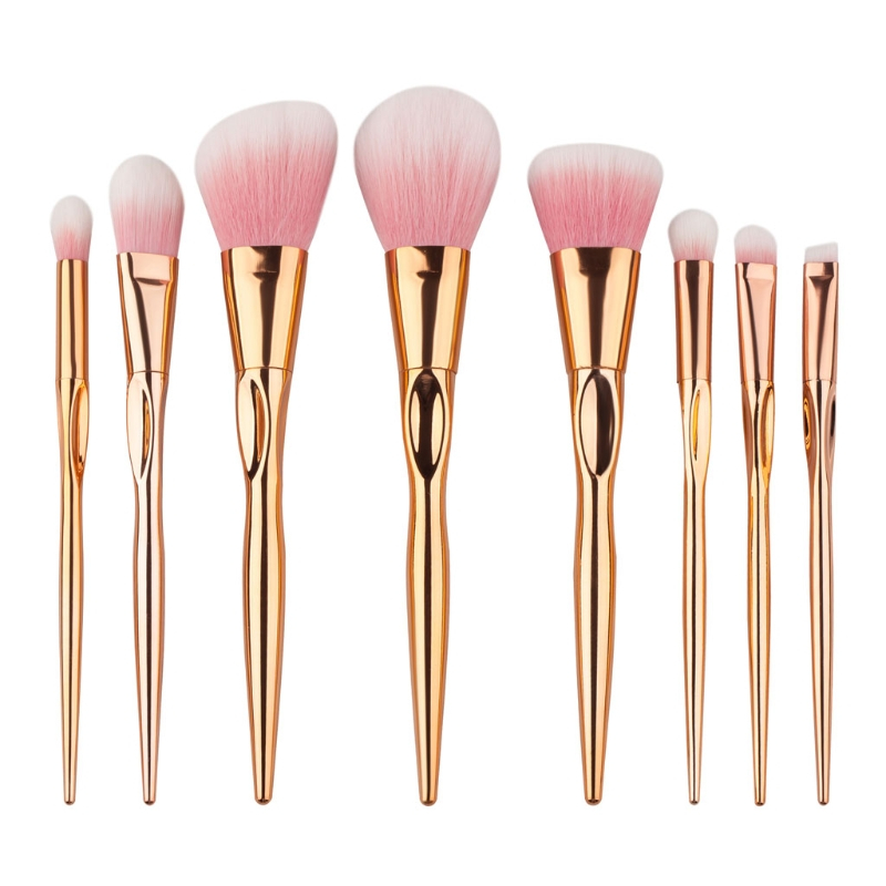8pcs Makeup Brushes Plastic Face Eyeshadow +Aluminum Tube Beauty Cosmetic Blush Tools Nylon Hair 2017 Foundation Powder Set