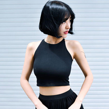Tops Casual Black Short Sports-Vest Cotton Camisole Sexy Vintage HALTER Korean Summer