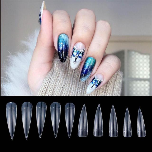 500 pcs Natural/Beige French Stiletto Acrylic Artificial False Nail Tips Half Cover Fake Nail Art Tips Makeup DIY #20