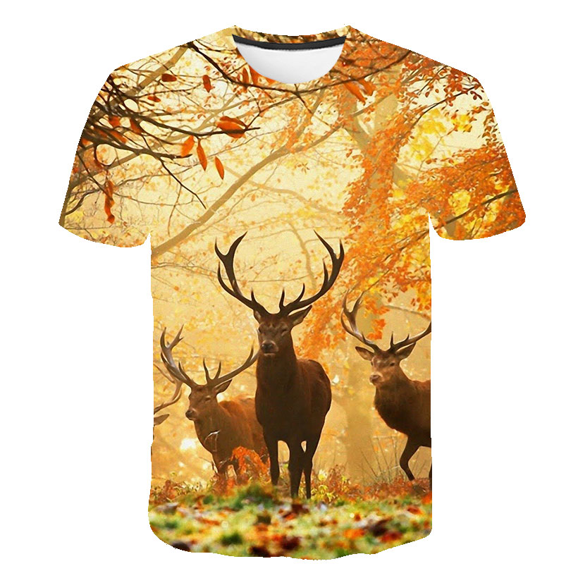 PLstar Cosmos Animal style deer cute natural Men Women   T  -  shirts   Funny Cartoon 3d print Crewneck casual Tee   shirts