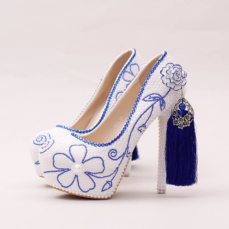 Wedding font b Shoes b font China style blue blue and White porcelain pearls Bridal font