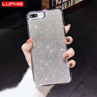 LUPHIE luksusowy Sexy Rhinestone przypadku dla iPhone X XS Max XR 8 7 Plus Bling diament etui na iPhone'a X 6 6 S 7 8 Plus Glitter Case