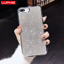 LUPHIE lujosa funda de diamantes de imitación Sexy para iPhone X XS Max XR 8 7 Plus fundas de diamantes brillantes para iPhone X 6 6 S 7 7 8 Plus caso brillo(China)