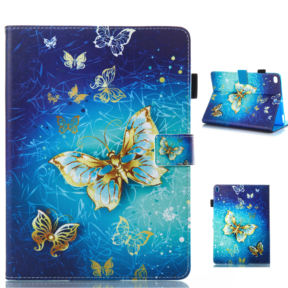 Golden Butterfly Pattern Leather Full Body Case with Stand for iPad Air 1 2 iPad 2 3 4 iPad Mini 1 2 3 4 Pro 9.7 10.5 iPad 2017