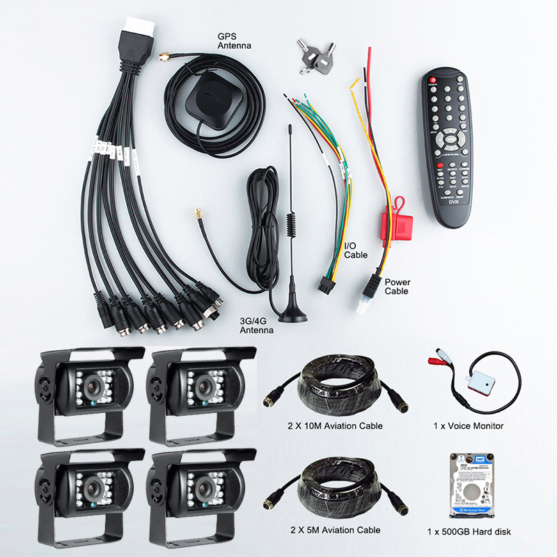 4PCS Waterproof Night Vision IR AHD Car Camers With 2.0MP For 4CH 1080P 3G GPS AHD Vehicle Mobile Dvr With Real Time Remote View