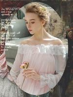 2018 New Women's nightgown Vintage Palace Princess Long Sleeve Long dress Sets Sweet Lace Sleepwear Lounge Set
