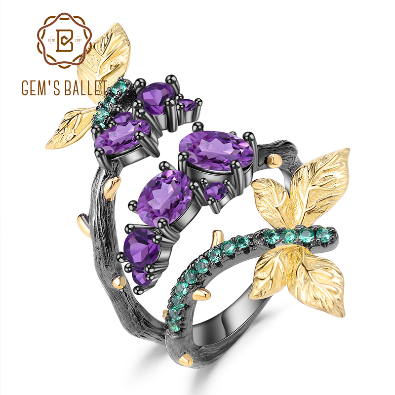 GEM'S BALLET 1.46Ct Natural Amethyst Original Handmade Open Adjustable Ring 925 Sterling Silver Branch Rings For Women Bijoux