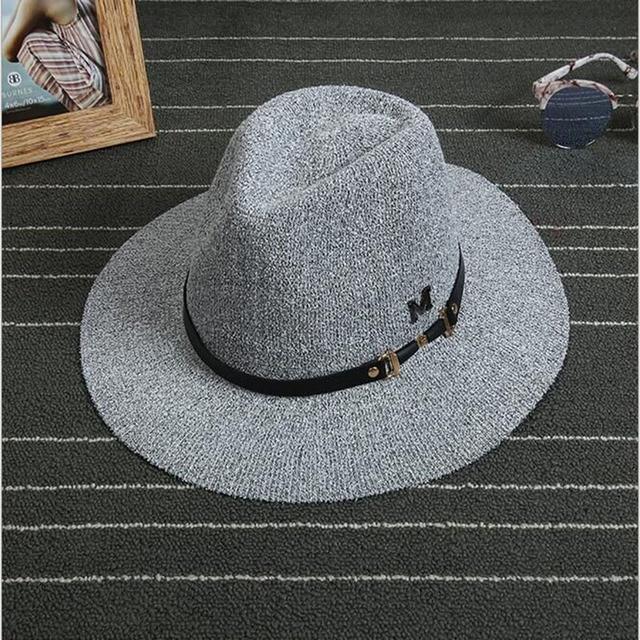 2015 New Style Brand Wool Blend Knit Hat Fedora Cap British Sir Retro Elegant Hat Panama Sun Hats