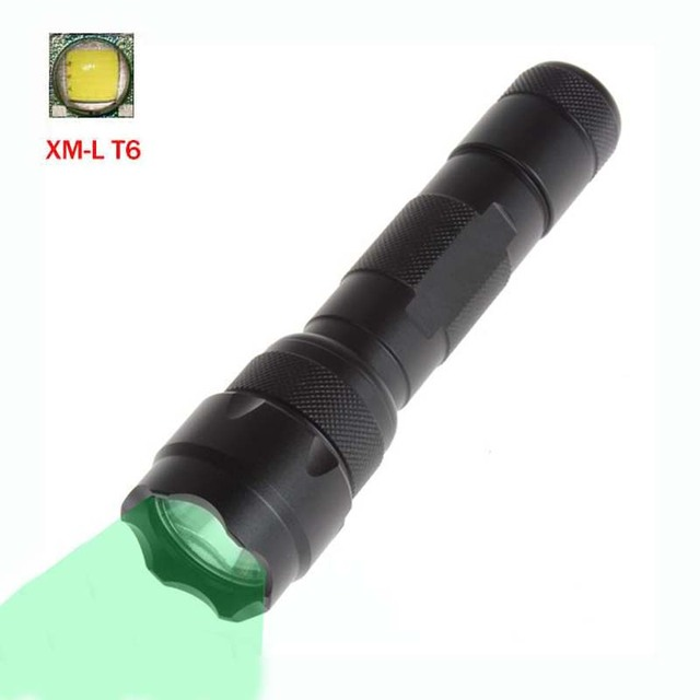 1000 Lumen Green LED Flashlight LED Torch Light XM L T6 Pocket Hunting Lamp  Green