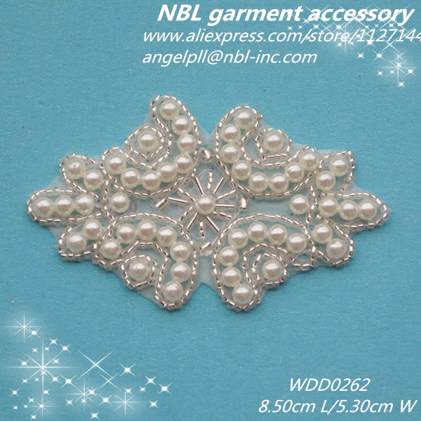 30pcs Wholesale bridal beaded pearl applique patch iron on for dress or headband WDD0262