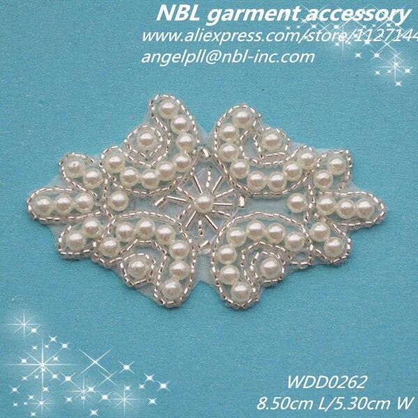 (30 stks) Groothandel bruids kralen parel applique patch ijzer op voor jurk of hoofdband WDD0262-in Lappen van Huis & Tuin op  Groep 1