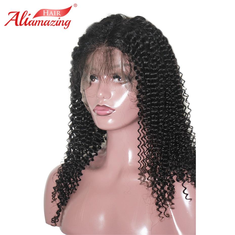 Ali Erstaunliche Haar Spitze Front Menschliches Haar Perücken 350% Dichte Pre Gezupft Haaransatz Mit Baby Haar Brasilianische Reines Haar Lockige Perücken