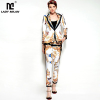 New Arrival Women S Turn Down Collar Long Sleeves One Button Blazers With Printed Pants Fashion