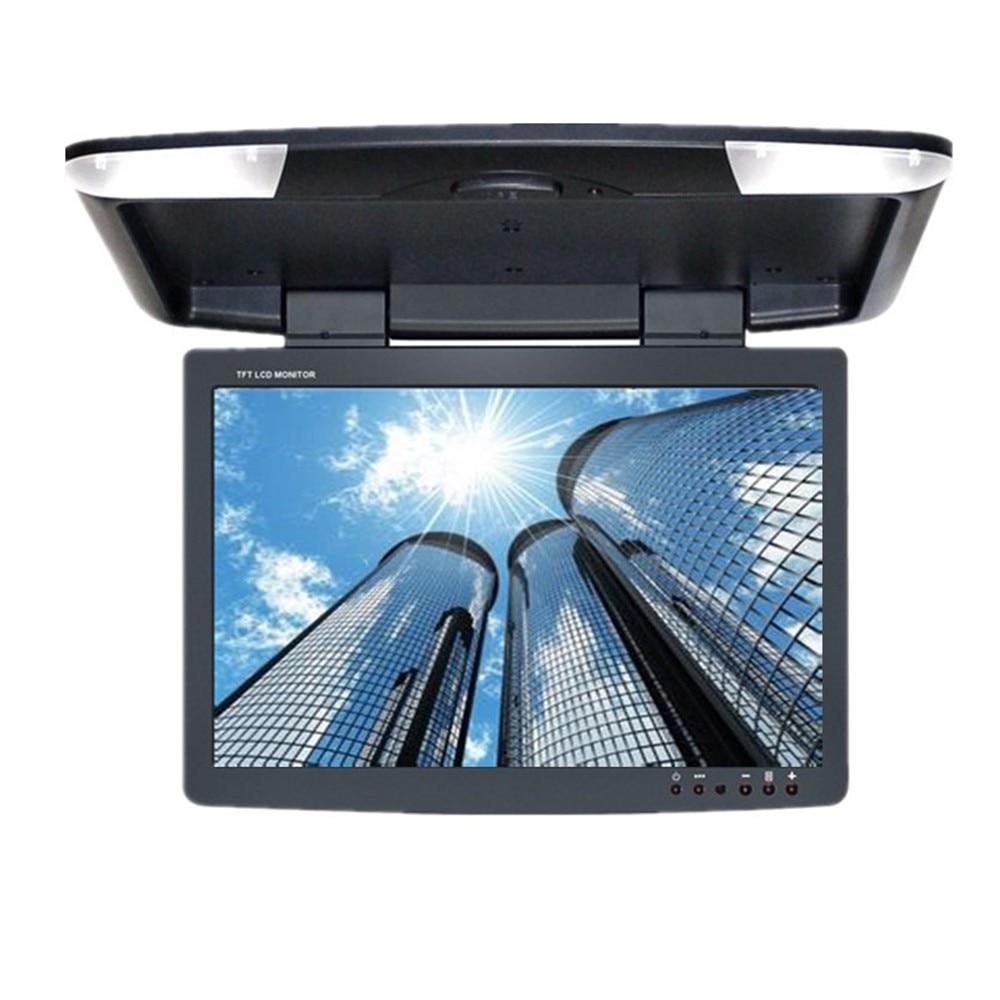 15-дюймовый TFT ЖК-откидной монитор автомобиля крыши автомобиля мониторы для укладки накладные Мультимедиа-видео и двойной видео вход AV для автомобиля шины