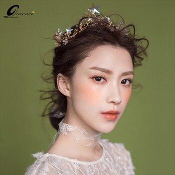 Hermosas diademas estrelladas de aleación de estrella de cristales Tiara Accesorios nupciales para el cabello corona de boda para mujer Tiara tocado para baile de novia