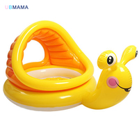Cute yellow child swimming pool cartoon snail shape plastic PVC with awning windows baby ocean ball pool baby play sand pool