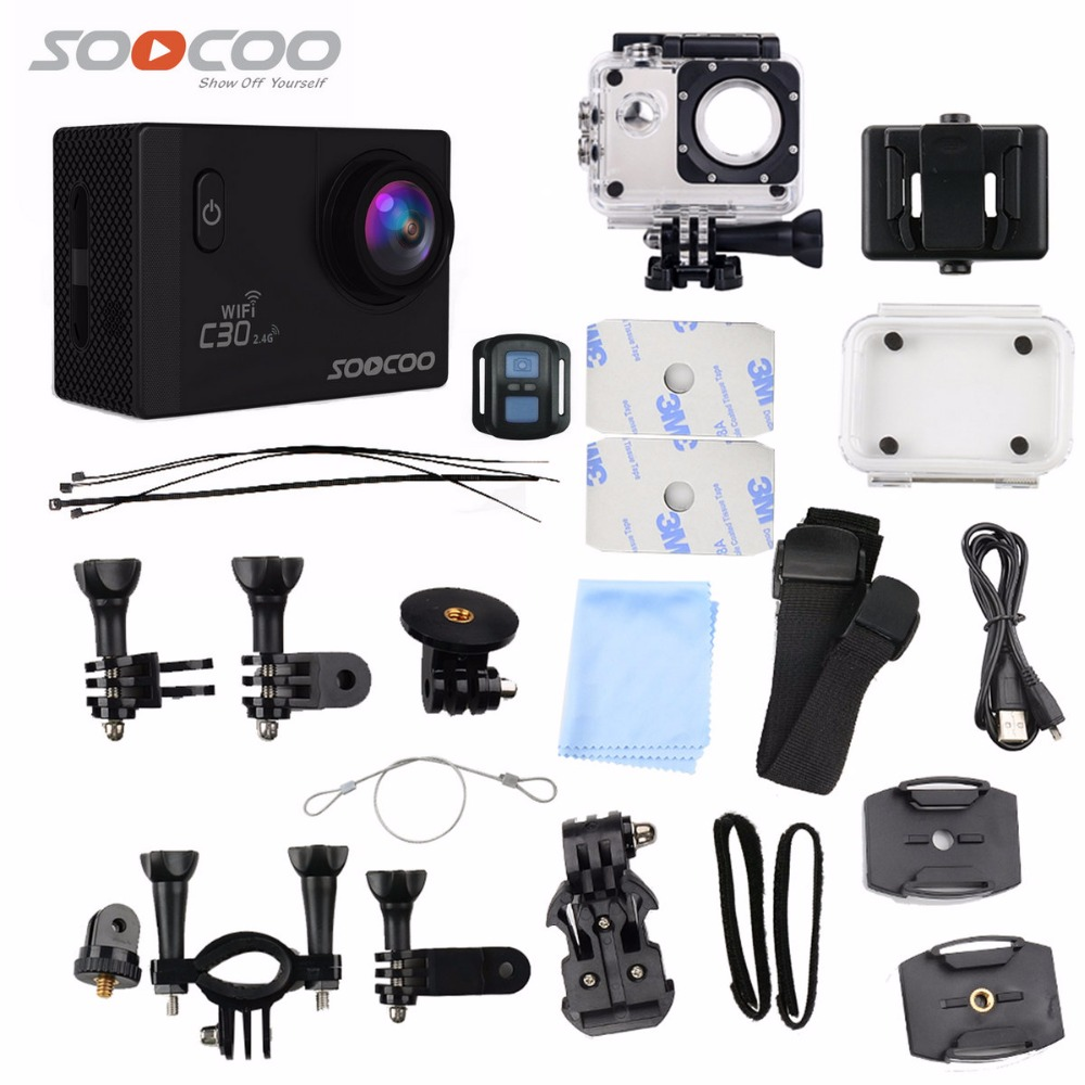 Action Camera SOOCOO C30R 4K Wifi Viewing angles 170 Degrees mini cam 2.0 LCD NTK96660 30M go Waterproof pro Camera underwater soocoo c30 sports action camera wifi 4k gyro 2 0 lcd ntk96660 30m waterproof adjustable viewing angles