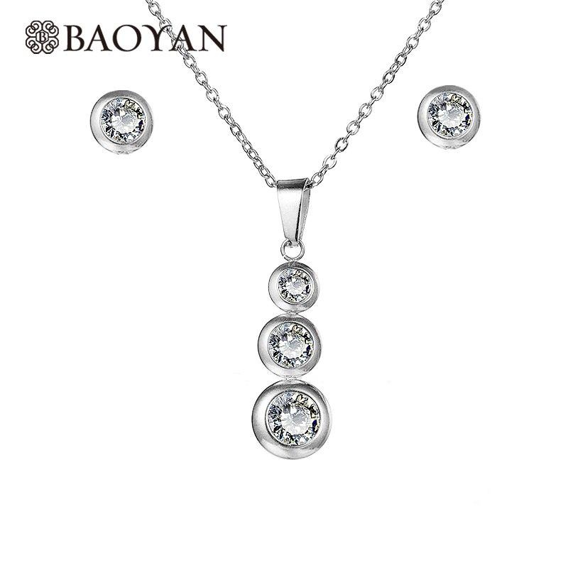BAOYAN Silver Gold Stainless Steel Jewelry Set Zircon Bride Jewelry Sets Cubic Zirconia Wedding Jewelry Sets