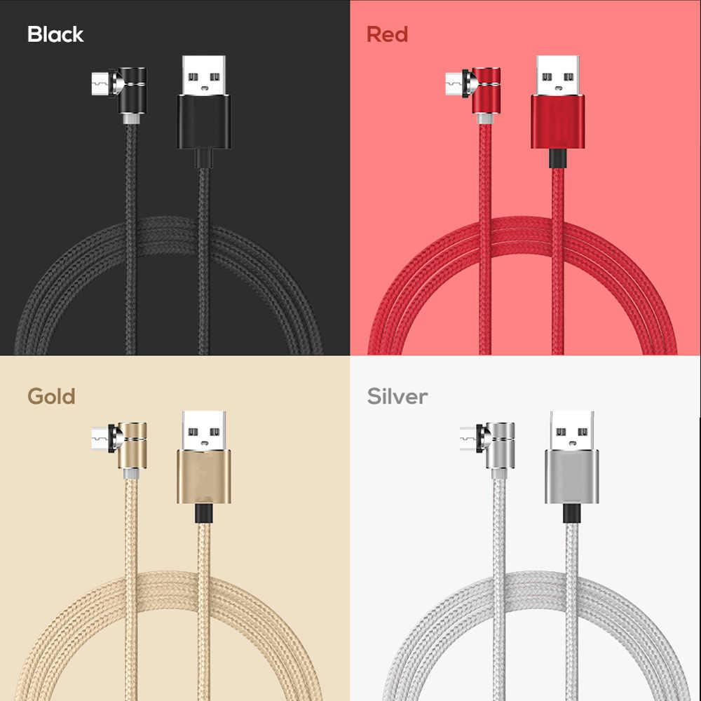 Cable magnético de 90 grados Micro Usb tipo C para iphone X XS Cable de carga Kabel para Xiaomi Samsung A50 A80 cable cargador S10 1m 2m