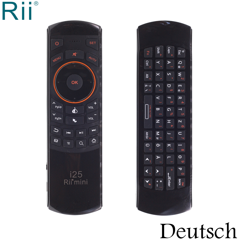 Rii i25 Deutsch / German Keyboard Mini 2.4GHz Wireless Keyboard Air Mouse with IR Function for Android TV Box/Mini PC/Laptop arabic keyboard rii mini i25 k25 fly air mouse 2 4ghz wireless keyboard remote controller for android tv box htpc pc tablet