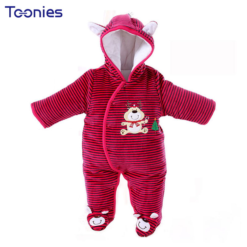 Hooded Boy Girl Rompers Thick Baby Clothes Cartoon Embroidery Newborn Climb Clothing 2018 Christmas Party Romper Infant Jumpsuit newborn baby rompers baby clothing 100% cotton infant jumpsuit ropa bebe long sleeve girl boys rompers costumes baby romper