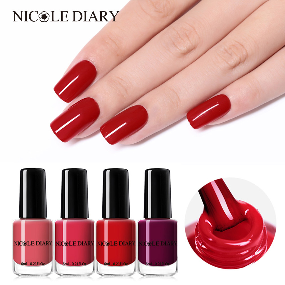 Us 0 97 46 Off Nicole Diary Peel Off Nail Polish Lacquer Art Decoration Waterproof Water Base Pigment Red Gray Pregnant Safe In Nail Polish From