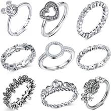 2e7472d52009 De cristal de moda de plata anillo de Color para las mujeres Flor de  corazón de