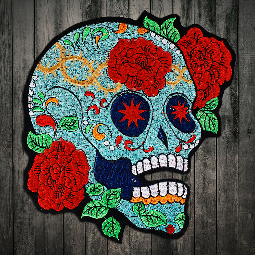 4a729b9890500 Detail Feedback Questions about rose skull biker patch for Jacket backing,  punk motorcycle embroidery skeleton biker badge, skull patch Garment  Accessory on ...
