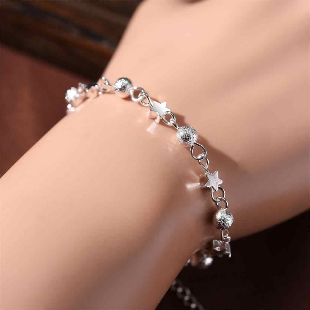 Hot Silver Plated Jewelry Bead Bracelet Stars Pendant Bracelets Sets For Women Gift