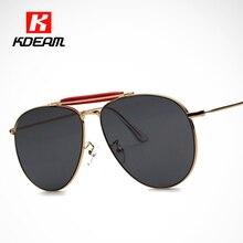 100% UV Polished Gold Luxury Sunglasses Men 59mm Coating Aviate Flat Lens Sun Glasses Women oculos de sol With Case KDEAM CE