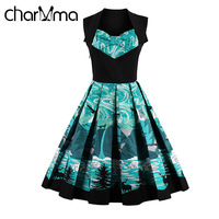 CharMma 2017 Vestidos Mujer Sleeveless Elegant Ladies Midi Party Dresses Retro Vintage Print Dress Women Summer