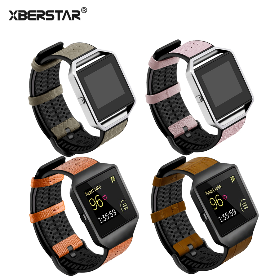 XBERSTRA Genuine Leather Strap for Fitbit Blaze Replacement Watch Band with Metal Buckle TPU Breathable Wristband fabulous multi color luxury tpu silicone watch band strap for fitbit blaze smart watch watch band hot sale dropship claudia