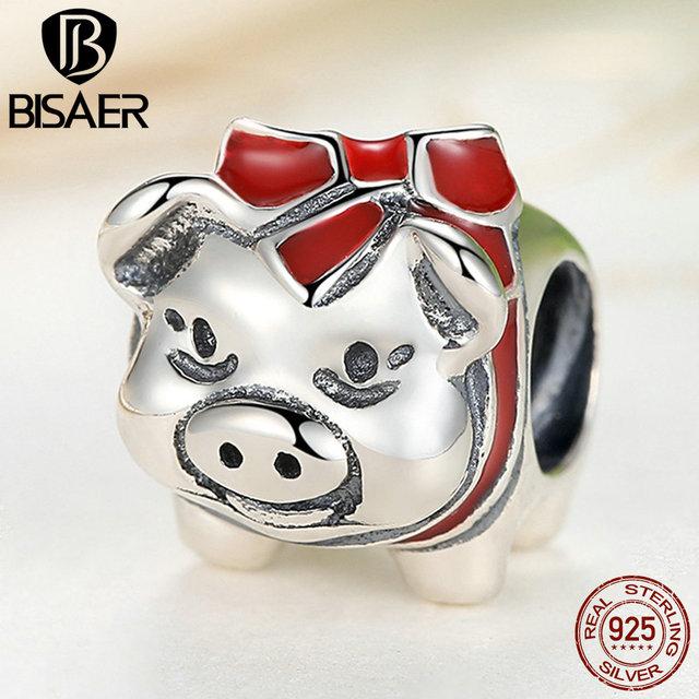Verdadeiro 925 Sterling Silver Red Piggy Bank Encantos Pingente Fit Encantos Pandora Original Pulseira Belas Jóias DIY Fazendo Bijoux