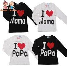 Папа мама тонкие любовь простой письмо младенца коротким футболки хлопка лето