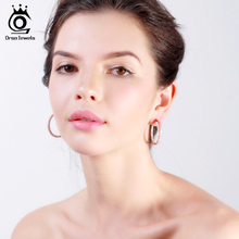 JEWELS 2017 Silver Color High Polished Hoop Earrings Paved with AAA Austrian Cubic Zirconia for Wedding Party Jewelry OE137