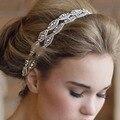 Moda 2016 dulce dulce mujer niñas hechos a mano con cuentas con diamantes incrustados Weeding Hairband del Rhinestone de la venda 03B0093