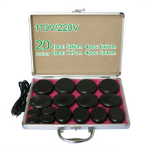 NEW wholesale & retail electrical heating 110/220V SPA hot energy stone 20pcs/set with heat box (model 4+4+4+8) massage stone box massageador beauty stone new wholesale electrical heating 220v spa hot energy stone 22pcs set with heat box