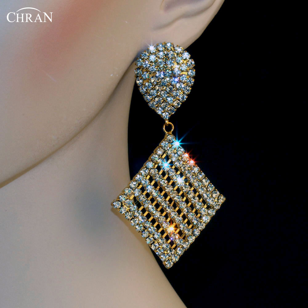 Chran Gold Silver Plated Costume Bridal Earrings Jewelry Accessories Bijoux  Promotion Square Rhinestone Earrings For Women