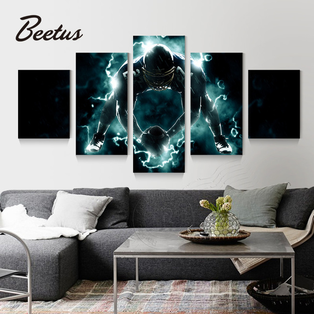 5 panel wall art game rugby canvas painting prints on canvas rugby