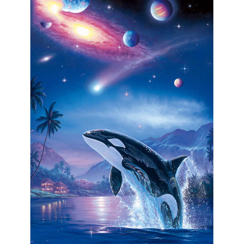 Full Square/round drill 5D DIY Diamond embroidery Star and killer whales Diamond Painting Cross Stitch Rhinestone Mosaic decor