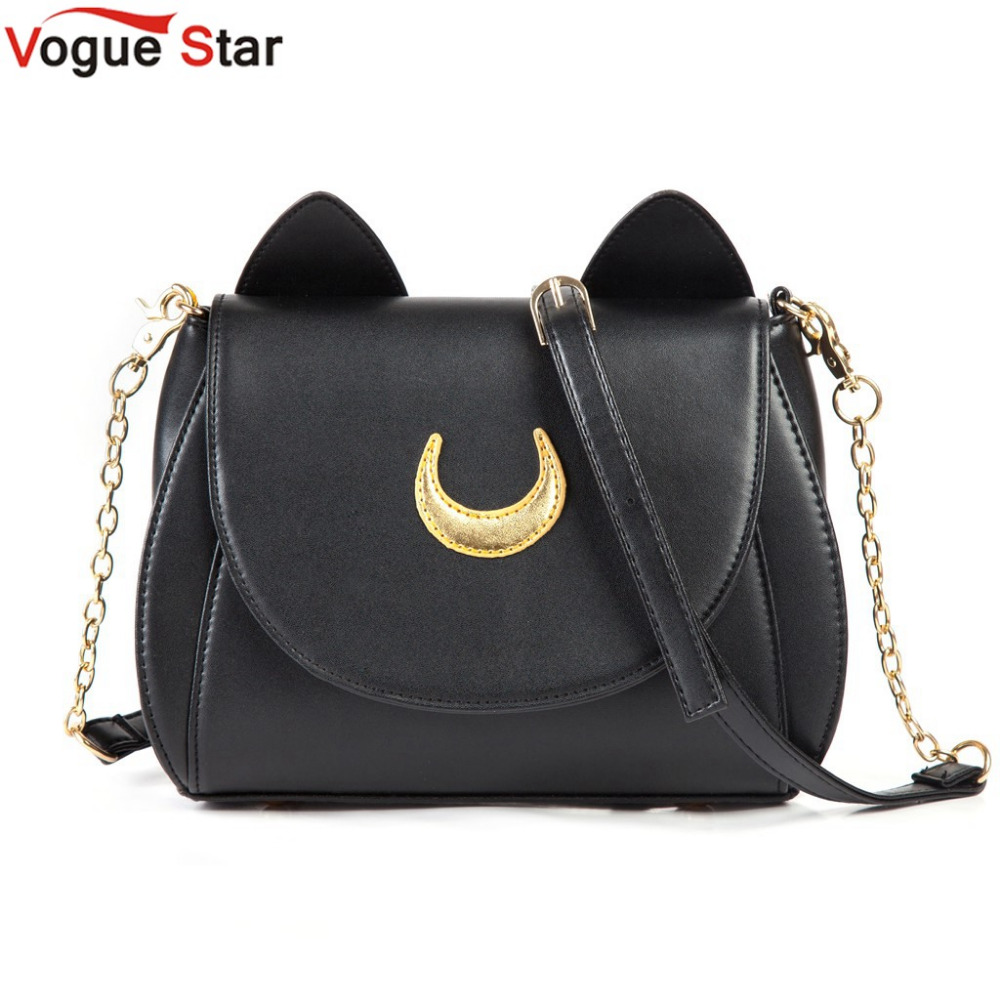 Hot 2017 Summer Limited Sailor Moon Bag Ladies Handbag Black White Cat Luna Moon Women Messenger Crossbody Bag YA40-67