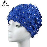 LEBESI 2017 New Colorful Women's Swimming Cap Cover Ear Flower Swim Pool Hat Elastic Swim Cap Plus Size Bathing Cap