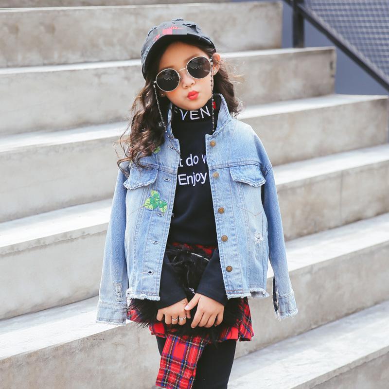 Baby Girl Jackets 2-12 Years Kids Denim Jackets Long Sleeve Teenager Girls Fashion Windbreaker School Outwear Toddler Girl Cloth