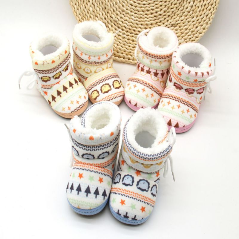 Infant Toddler Newborn Kids Baby Shoes Algodón Acolchado Raquetas de nieve Invierno Botas cálidas