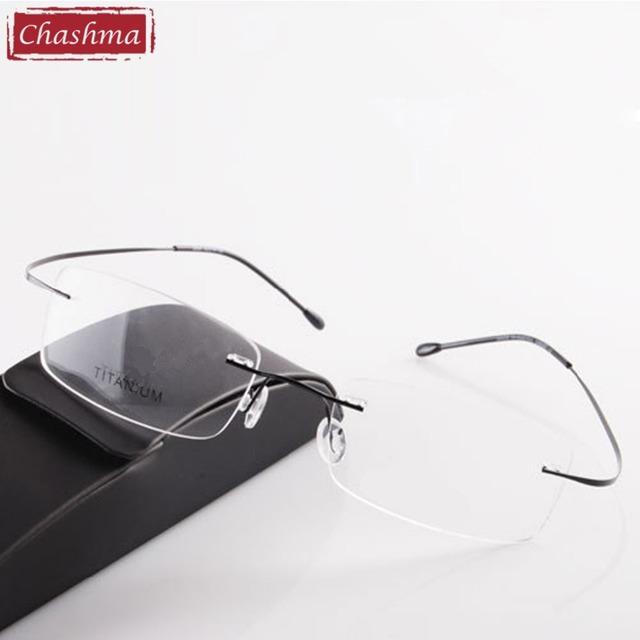 Marca titanium óptica gafas hombres y mujeres sin rebordes de la moda ultra-light 2g sólo marco de los vidrios ópticos