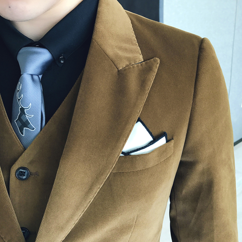 hot sale online fe582 0abbf Brown Green Corduroy Suit Slim Fit Vestito Uomo Smoking British Terno  Masculino Trajes Hombres Formal Latest Coat Pant Design