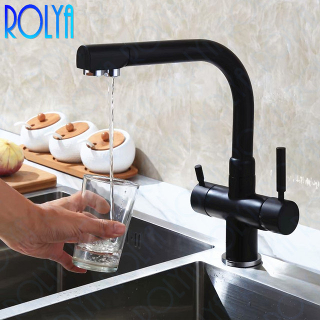 Rolya Solid Brass Alba Black Kitchen Faucet Osmosis Tri Flow Sink Mixer 3 Way Water Filter Tap Chrome/Brushed 2018 Wholesale